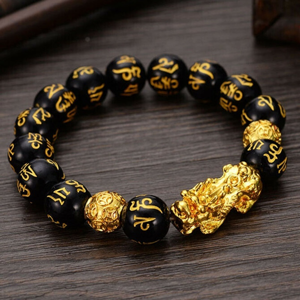 Pi Xiu Bracelet Feng Shui Black Obsidian Wealth Bracelet For Women Men Adjustable Elastic Wish