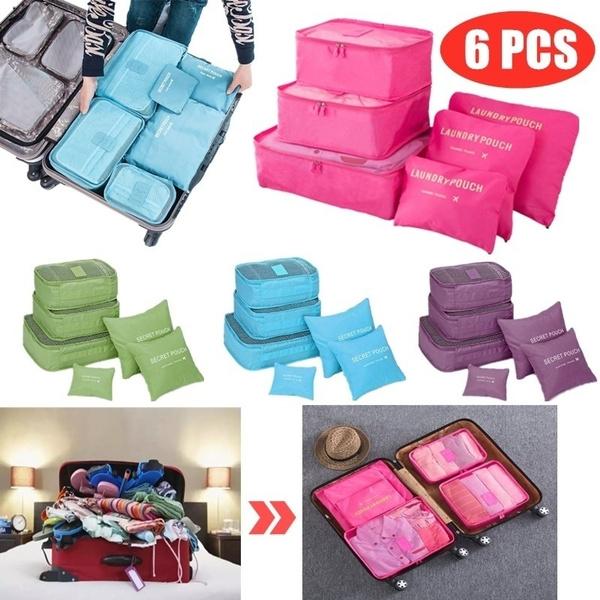 6 Pcs//Set Square Travel Luggage Storage Bags Clothes Organizer Pouch Case