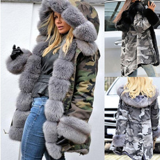 Plus Size, Long Sleeve, fur collar, Ladies