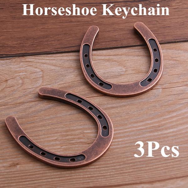 3Pcs Zinc Alloy Big Horseshoe Horse Charms Keychain Key Rings DIY Jewelry MakiKH