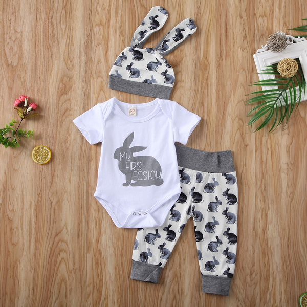 My 1st Easter Newborn Baby Boy Girl Romper+Long Pants Hat 3PCS Outfits Clothes