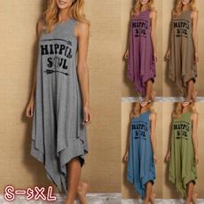 cute, Plus Size, letter print, long dress