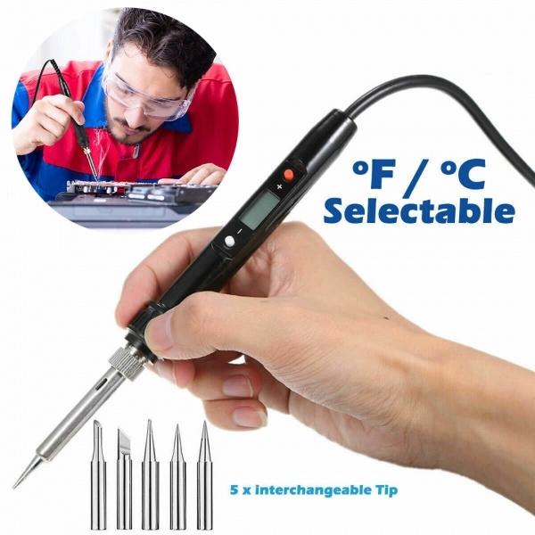80W Soldering Iron Welding Tools Solder Wire Tweezers Hand LCD Electric Digital