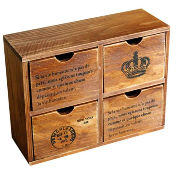 Desktop Organiser Wooden Desktop Storage Box Drawer Desk Stationery Organiser Le
