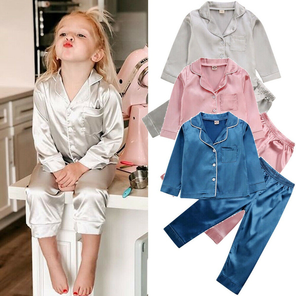 Boys Girl Silk Satin Pajamas Set Baby Kids Long Sleeve Sleepwear Nightwear