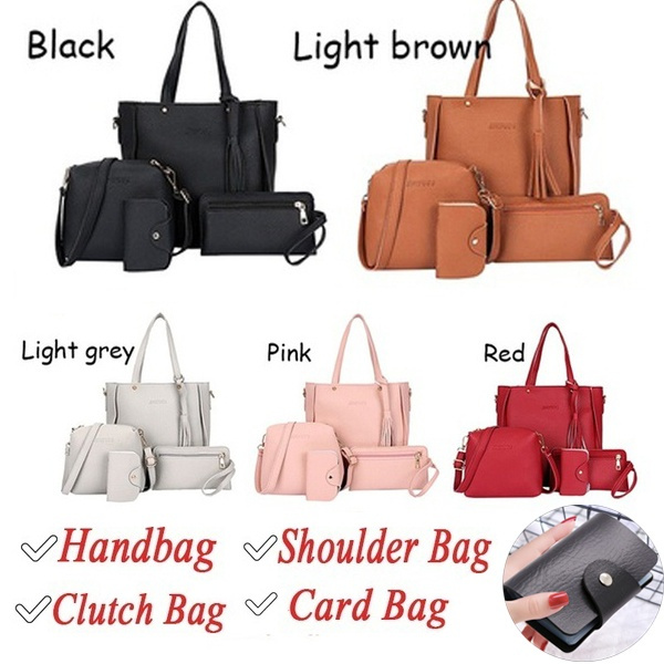 4pcs Fashion Litchi Leather Tassel Women Tote Shoulder Handbag Clutch Card Bags