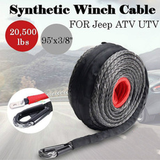 Winch Line 30m x 10mm Synthetic Winch Rope Line Cable W//Protective Sleeve /& Hook 22000 lbs for ATV UTV