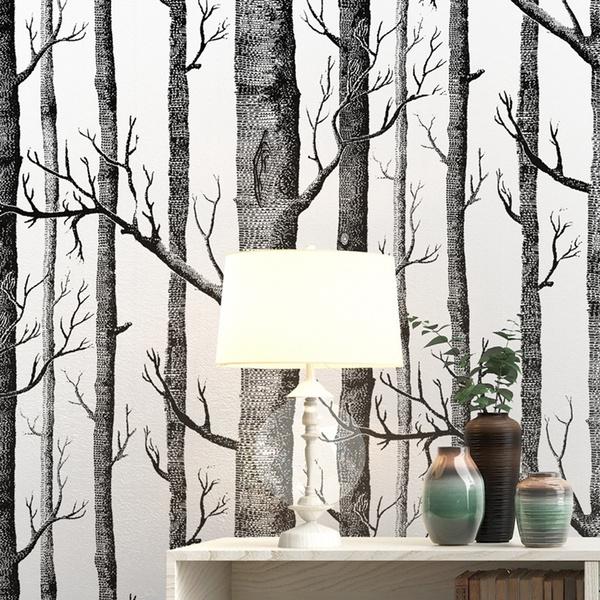 Black White Birch Tree Wallpaper For