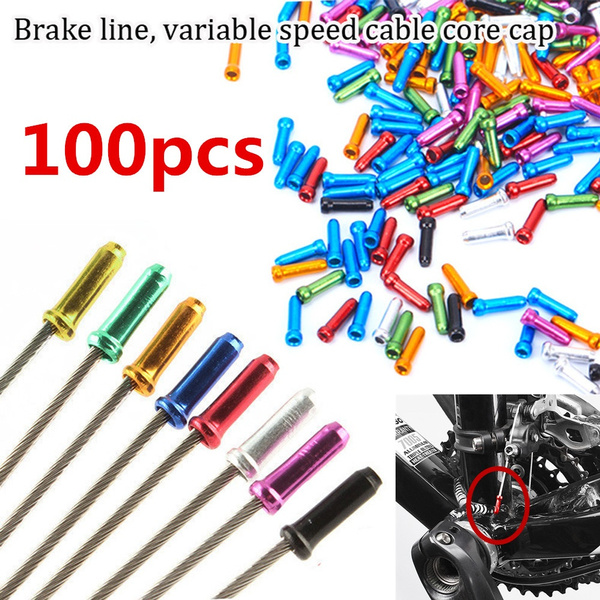 100pcs Silver Aluminum Bicycle Brake Shifter Inner Cable Tip Wire End Caps Crimp