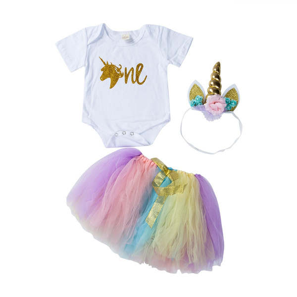 Infant Toddler Kids Baby Girl 1st Birthday Outfit Party Romper Dress Tutu Skirts