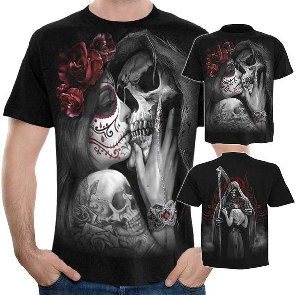 T-Shirt 3D Printed Gothic Font Unique Casual Tees