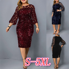 34sleevedres, solidcolordres, plus size dress, Dress