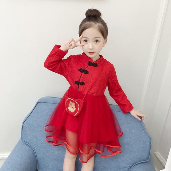 Children Kids Girl Tang Suit Cheongsam Embroidered Princess New Year Dress