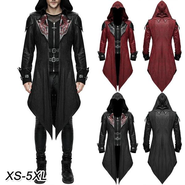 Mens Fashion Gothic Hooded Jacket Coat Red Black Diesel Punk
