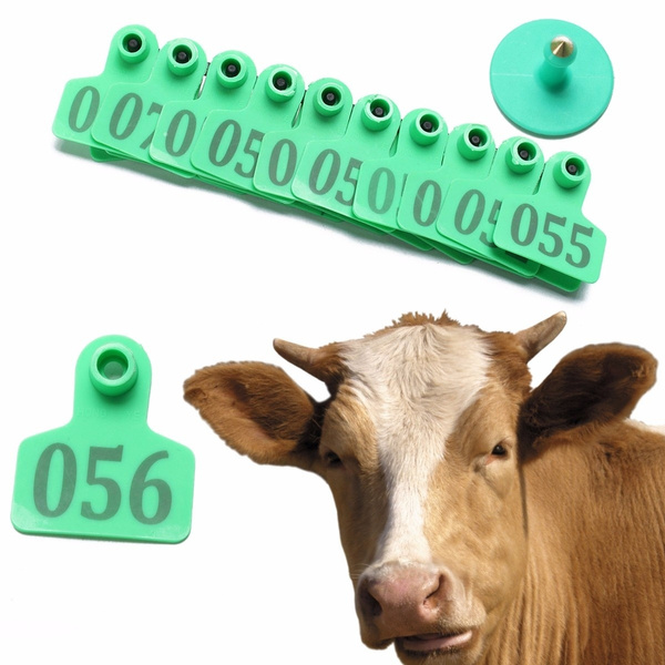 100pcs TPU Laser Curve Cattle Ear Tag Tagger Copper Head green without number