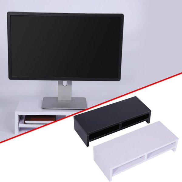 Wooden Computer Desktop Monitor Stand Laptop TV Display Desk Storage Shelf 30 KG
