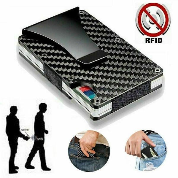 Slim Carbon Fiber Credit Card Holder RFID Blocking Metal Wallet Money Clip Purse