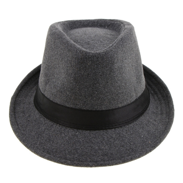 Mens Classic Manhattan Structured Gangster Trilby Fedora Hat with Band