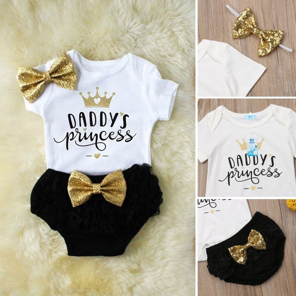 Newborn Baby Girl Bodysuit Romper Tops+Shorts Pants Headband Clothes Outfits Set