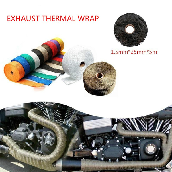 5M Black Motorcycle Turbo Manifold Heat Exhaust Wrap Tape Thermal Stainless Ties