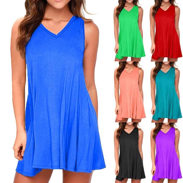 Summer, Plus Size, Dress, V-neck