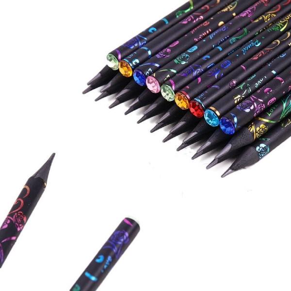 12 Pcs Diy Pencil Hb Diamond Printing