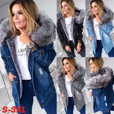 fur coat, Plus Size, Long Sleeve, denim jacket