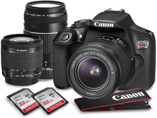 Canon Eos Rebel T6 Dslr Camera W Ef S 18 55mm F 3 5 5 6 Is Ii Lens 75 300mm Lens 2x 32gb Along With Deluxe Accessories Bundle Wish