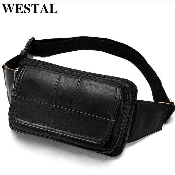 Fashion Leather Genuine Waist Bag Packs Men Money Belt Bag