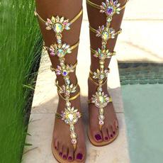 bohemia, beach shoes, gold, Summer
