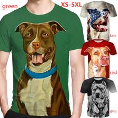 Moda, Manga, 3dpitbulldogprint, animaltshirt