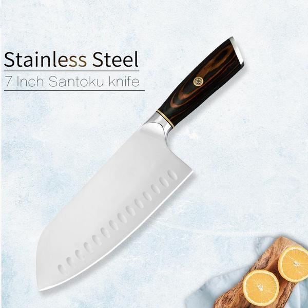 Santoku Knife 7 5 Inch 5cr15 Steel Kitchen Knife High End Double