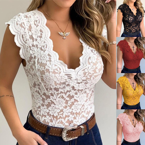 Deep V-Neck, Fashion, Tank, Lace