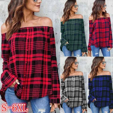 off shoulder top, Plus Size, Shirt, pullover sweater
