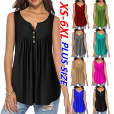 Summer, Plus size top, Cotton T Shirt, Pleated