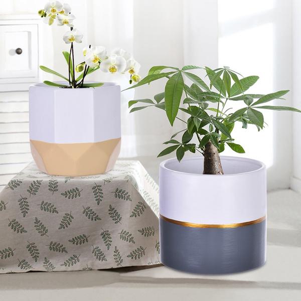 2pc White Ceramic Flower Pot Garden