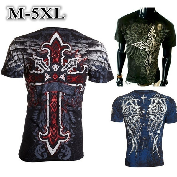 3 Colors M 5xl Fashion Men Cross Wings Tattoo Printing T Shirt Male Casual Short Sleeve Tops Blouses Wish