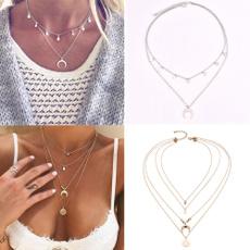 crescentnecklace, moonchoker, Chain, ancientsilvernecklace