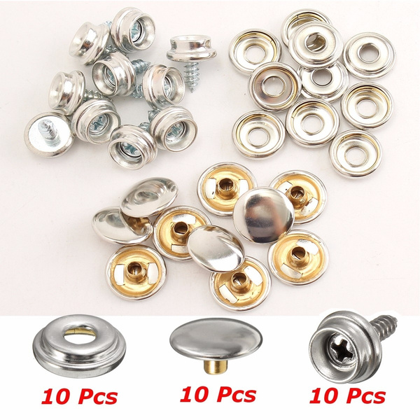 10 Set 3//8/'/' Stainless Steel Snap Button Screw Studs Canvas Tent Boat Covers