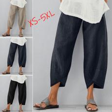 summertrouser, Summer, elastic waist, widelegspant