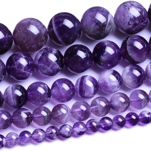 """Pretty 6mm Purple Amethyst Round Beads Gemstone Necklace 36 /"""""""