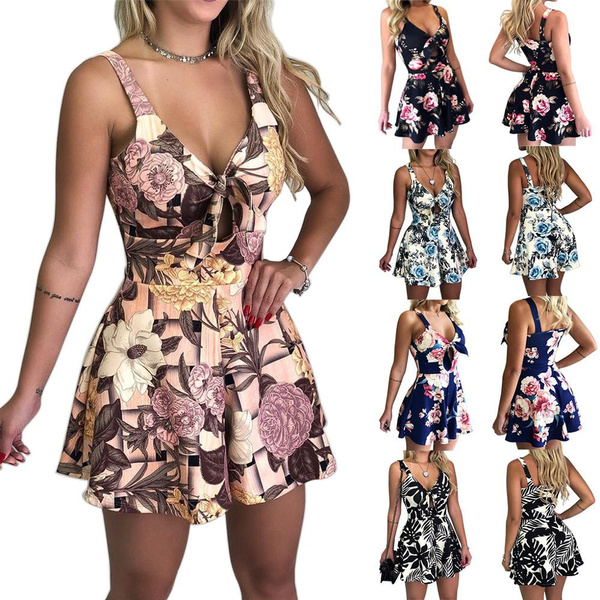 Womens V Neck Short Sleeve Summer Beach Jumpsuits Casual Loose Shorts Playsuits