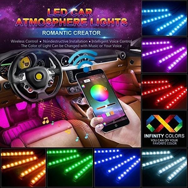 CAR RGB LED strip light Car Interior Decorative Lights Voice//App Control