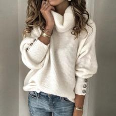Fashion, Winter, knitwomensweater, highcollar