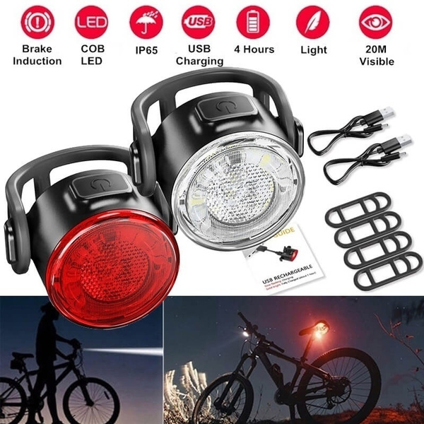 Super Bright Led Headlight Light Rechargeable Bike USB Waterproof Bicycle Red