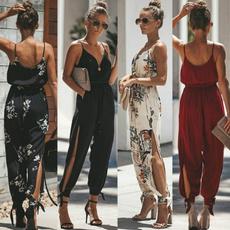 Deep V-Neck, fashion women, trousers, Cotton