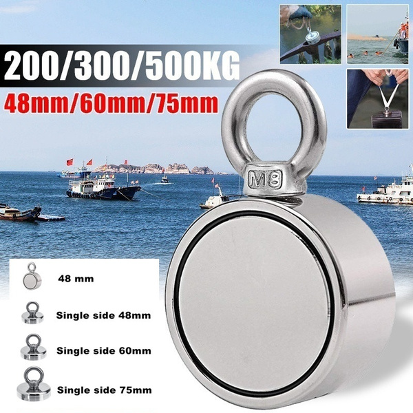 Double-Sided Fishing Magnet With 10 Meter Rope Strong Magnetic Ring Magnet 6N