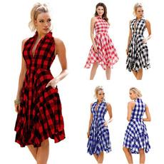 Summer, plaid, asymmetricdresse, Shirt