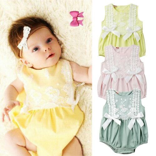 Newborn Baby Girls Ruffle One-Pieces Romper Bodysuit Jumpsuit Outfits Sunsuit