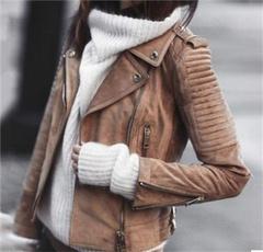 Fashion, leather, Coat, slim